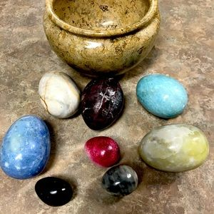 Alabaster eggs and bowl